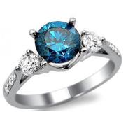 REAL ROUND CUT DIAMOND 14KT WHITE GOLD LOVELY BLUE DIAMOND RING