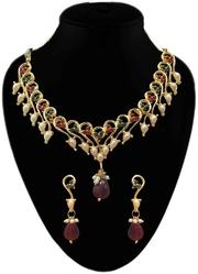 Best Austrian Stone Alloy Green & Maroon Necklace Set for women's