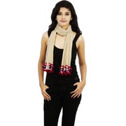 Buy Women Goswankyy Beige khadi Scraf With Multicolor Pompom