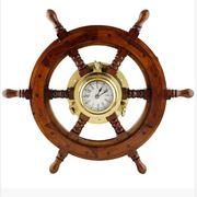 Premium Nautical Decor Ship Wheel   Brass Porthole Clock (18 Inches)