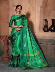 Designer Beautiful Poly Cotton Silk  Saree   Kalavat