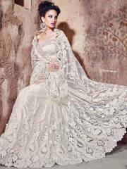 Creative white wedding wear net designer saree