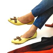Buy Mayo Lemon Yellow Ballet Flats With Bow for Women at PAIO Shoes