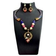 Kundan Meenakari Pipe Curvy Pendant Necklace Set from Sheorna