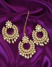 Get latest Maang Tikka with Earrings at Anuradha Art Jewellery.
