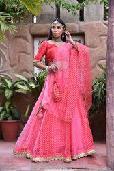 Shop Wedding Party Wear Pink Leheriya Lehenga Set Online at Satrangi