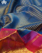 Kanchipuram Silk Checks Blue Saree Online Brand Mandir